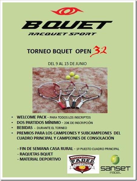 Torneo Bquet Open 32 del 9 al 15 de junio en el Club Sanset Pádel, S. Sebastián Reyes, Madrid.
