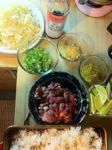 getting ready for a Q family go-to dish: Thai Fried Rice