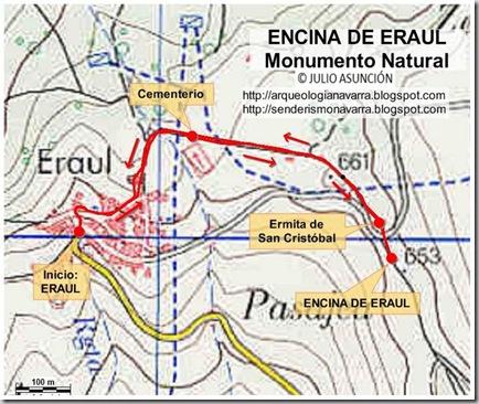 Mapa ruta encina de Eraul