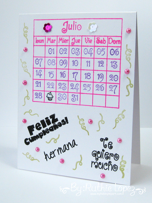Feliz cumpleaños Card - Happy Borthday Card - Sellos en español - Color Paws - Ruthie Lopez - My Hobby My Art
