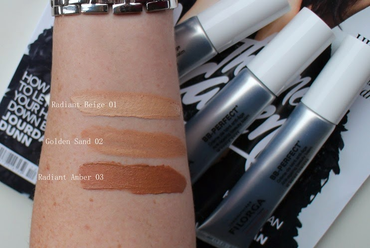 Filorga-BB-Perfect-Swatches-Radiant-Amber, Golden-Sand, Radiant-Beige