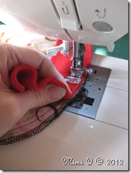 As you stitch the sleeve head in you stretch/pull the polar fleece and guide the sleeve.