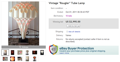 Rougier tube lamp auction end screenshot
