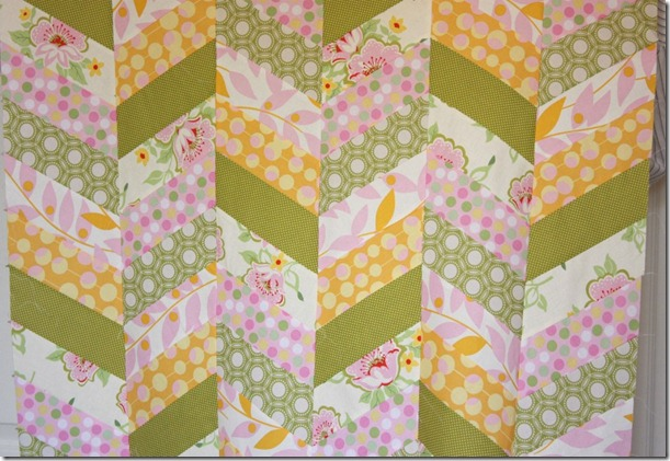 scrappy chevrons herringboned quilt top