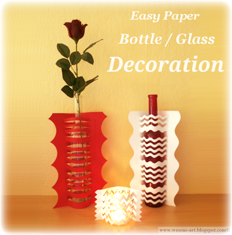Easy Paper Glass Bottle Decoration by Wesens-Art
