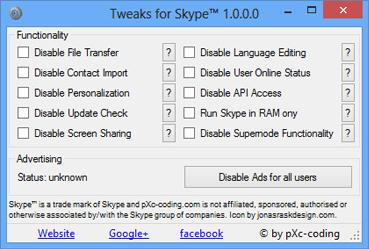 Tweaks for Skype – Disable Skype Ads