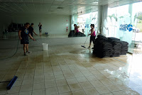 Hosing - thank goodness the floor is tiled!