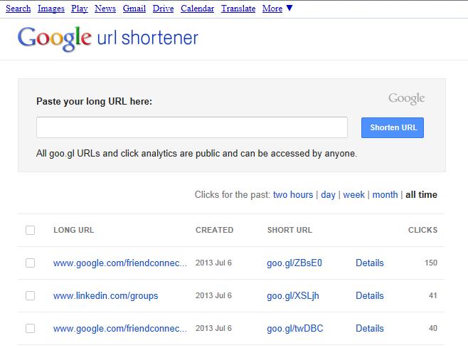 google url shortener - goo.gl.com