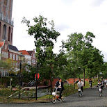 japanese kids on bikes at huis ten bosch in Sasebo, Nagasaki, Japan