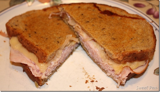 Grilled Turkey Reuben - Turkey and swiss grilled on rye bread with 1,000 Island dressing and sauerkraut makes a tasty sandwich.  virginiasweetpea.com