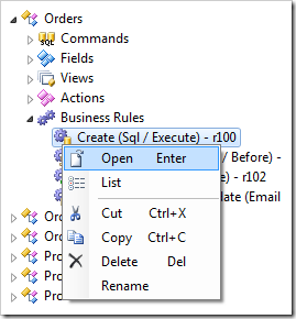 Open context menu option in the Project Explorer.