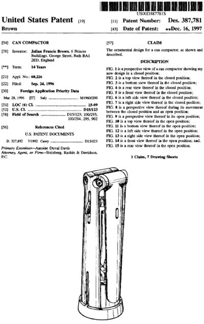 Attila can compactor US Patent