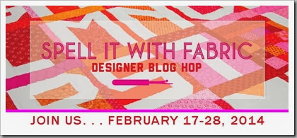 Moda designer blog hop Spell it with fabric