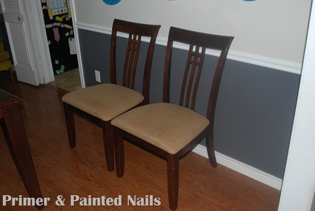 Dining Chairs Before - Primer & Painted Nails