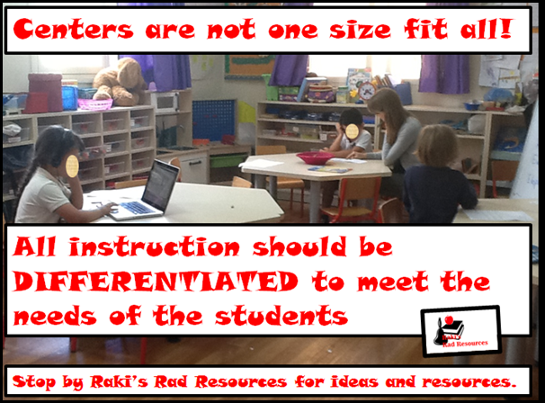 Centers are not one size fit all!  All instruction should be differentiated to meet the needs of students, including math and literacy centers.  Stop by Raki's Rad Resources for ideas and resources.
