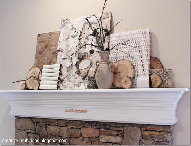 Natural Rustic Winter Mantel Agl2