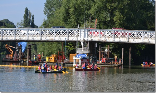 bridgeworks and canoes at whitchurch toll bridge