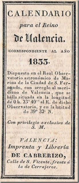 Almanaque para el Reino de Valencia. Cabrerizo. 1833