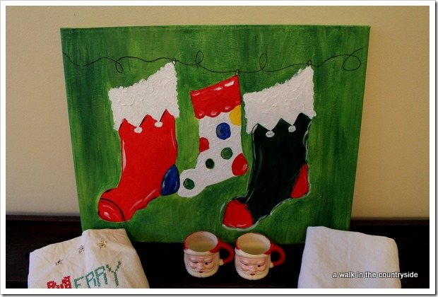 Christmas stockings painting