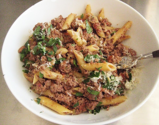 With penne, Parmesan, and chopped parsley