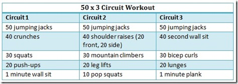50 x 3 circuit workout