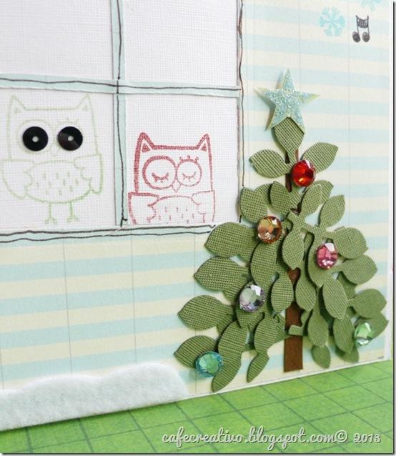 cafecreativo - Natale - card cd tree - biglietto albero gufetti 2