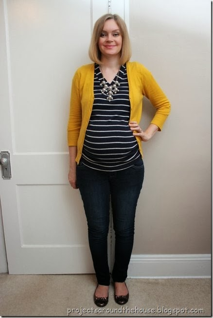 mustard cardigan, blue and white striped shirt, skinny jeans