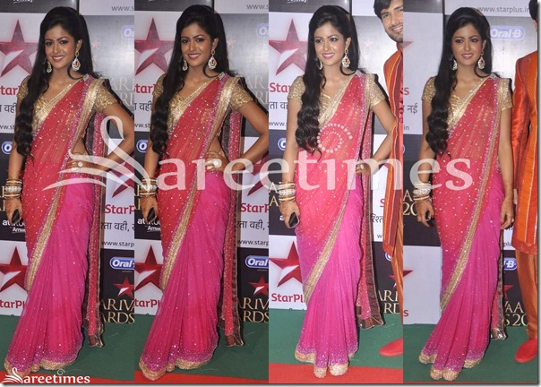 Pink_Red_Embroidery_Dual_Color_Saree