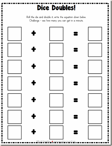math worksheet : dice addition worksheet blank  worksheets for education : Addition Doubles Worksheet