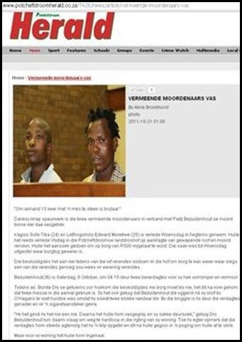 BEZUIDENHOUT Pietz Potchefstroom Herald murderers denied bail Oct212011