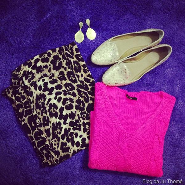 look saia estampada animal print e tricot rosa pink  (1)