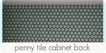 penny tile cabinet back