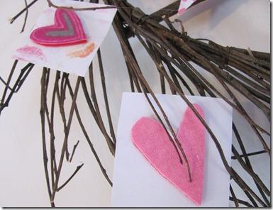 Twig heart wreath with felt hearts