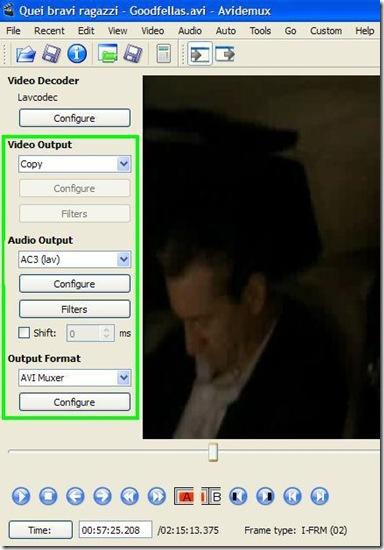 Avidemux impostazioni per ricodificare audio di un video