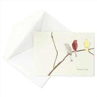 The Watercolor Birds thank-you card can be found at Crane & Co.