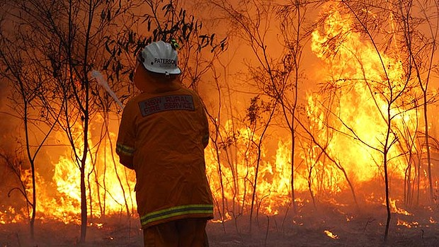 A firefighter in the New South Wales Rural Fire Service faces a brushfire, 7 January 2013. SMH