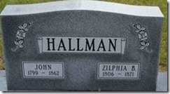 Hallman, John and Zilphia Headstone (2)