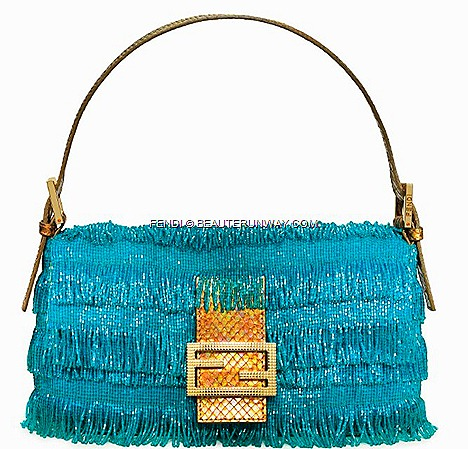 FENDI TURQUOISE BAGUETTE BAG python leather luxury iconic designs double FF sequins double F gold matt leather clasp calf skin, pony hair, sequins, beads, colours, vibrant aqua summer wardrobe 2012 checked logo Cover BOOK