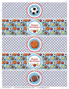 BL001 etsy 2  ball games water bottle labels