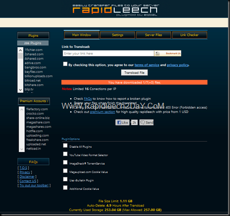 Free Rapidleech Server 2013