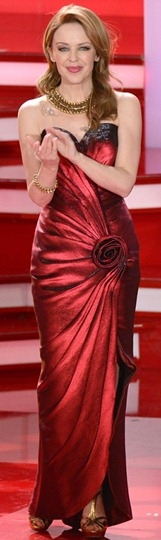 Kylie Minogue stunning red gown