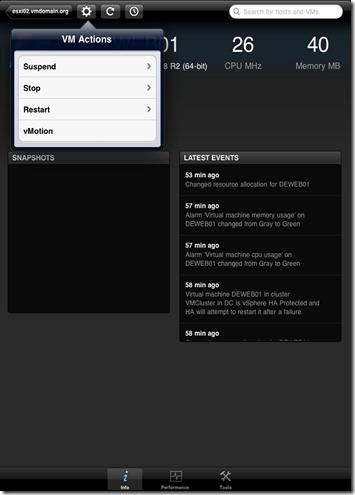 iPad vSphere Client VM Action