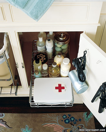Make bathroom cabinets easier to navigate when you fit them with roll-out wire trays, the kind used in kitchens.