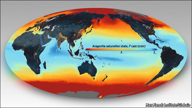 Aragonite saturation rate, forecast to 2100. Low omega values are spreading from the poles (whose colder waters dissolve carbon dioxide more easily) towards the tropics. The report, 'Ocean Acidification Summary for Policymakers – Third Symposium on the Ocean in a High-CO2 World', suggests that the rate of erosion of reefs could outpace reef building by the middle of the century, and that all reef formation will cease by the end of it. Graphic: Max Planck Institute