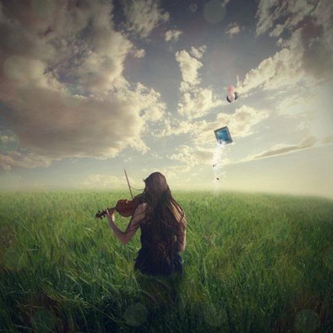 29. Tocar el violín en un paisaje