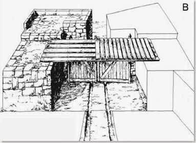 Recreación de la entrada principal del Castellar de Meca según Broncano