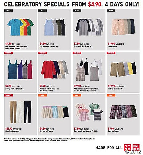 UNIQLO Parkway Parade Opening Special Buys UNIQLO UT shirt skirts dress jacket knits sweater pants shorts dry pack chino pants