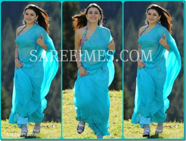Hansika_Blue_Plain_Saree