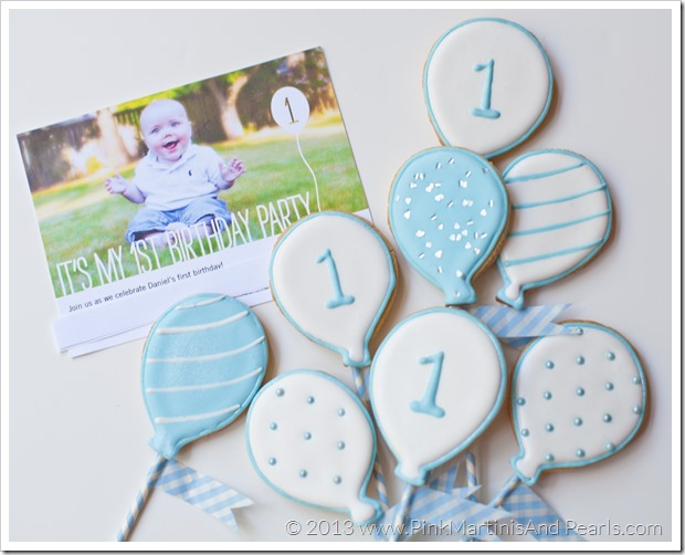 balloon cookies with invitation