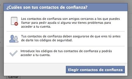 contactos de confianza en Facebook